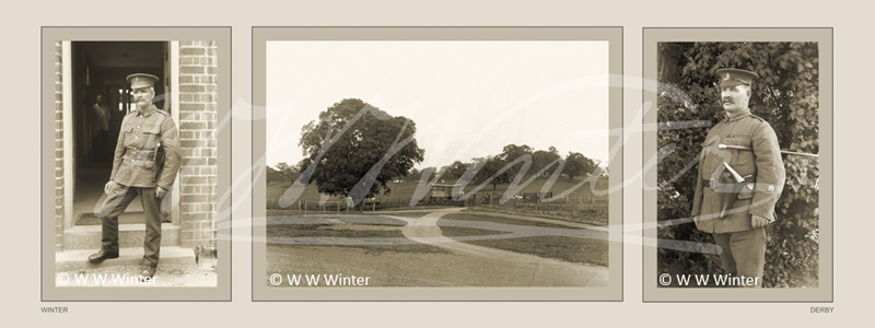 Three photographs from the Behind the Barbed Wire HLF funded project. Two men in military uniform and a landscape photograph